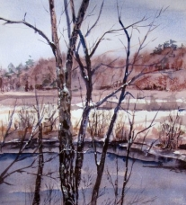 Winter Trees above the River